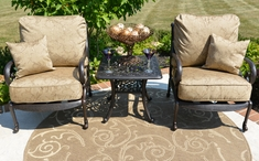 Amalia 2-Person Luxury Cast Aluminum Patio Furniture Chat Set W/Stationary Chairs