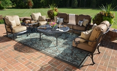 Amalia 6-Piece Luxury Cast Aluminum Deep Seating Set W/Drink Table And Stationary Chairs