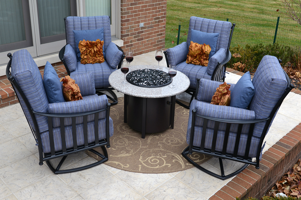 Amia 4 Person Luxury Cast Aluminum Deep Seating Set W Fire Pit And Swivel Chairs