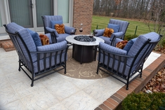 Amia 4-Person Luxury Cast Aluminum Deep Seating Set W/Fire Pit And Stationary Chairs
