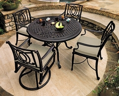 Bel Air By Gensun Luxury Cast Aluminum Patio Furniture 4-Person Dining Set With Swivel Chairs
