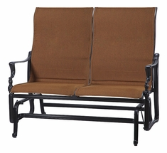 Bel Air By Gensun Luxury Cast Aluminum Patio Furniture Padded Sling High Back Loveseat Glider