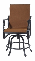 Bel Air By Gensun Luxury Cast Aluminum Patio Furniture Padded Sling Swivel Rocking Balcony Stool