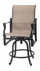 Bel Air By Gensun Luxury Cast Aluminum Patio Furniture Swivel Sling Balcony Stool