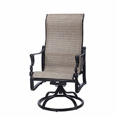 Bel Air By Gensun Luxury Cast Aluminum Patio Furniture Swivel Sling Dining Chair