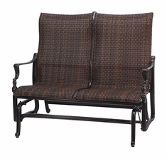 Bel Air By Gensun Luxury Cast Aluminum Patio Furniture Woven High Back Loveseat Glider