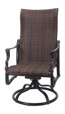 Bel Air By Gensun Luxury Cast Aluminum Patio Furniture Woven High Back Swivel Rocker