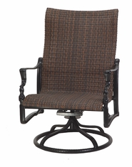 Bel Air By Gensun Luxury Cast Aluminum Patio Furniture Woven High Back Swivel Rocking Lounge Chair
