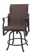 Bel Air By Gensun Luxury Cast Aluminum Patio Furniture Woven Swivel Balcony Stool