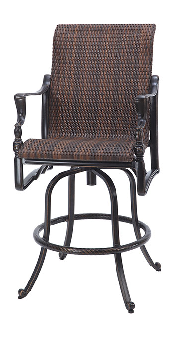 Bel Air By Gensun Luxury Cast Aluminum Patio Furniture Woven Swivel Bar  Stool