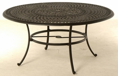 "Bella By Hanamint Luxury Cast Aluminum 60"" Round Dining Table W/Inlaid Lazy Susan"