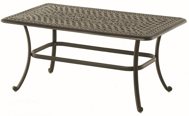 Bella By Hanamint Luxury Cast Aluminum Patio Furniture 26 X 48 Rectangular Coffee Table
