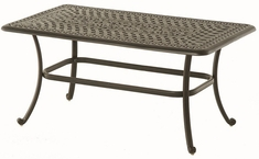 "Bella By Hanamint Luxury Cast Aluminum Patio Furniture 26"" x 48"" Rectangular Coffee Table"