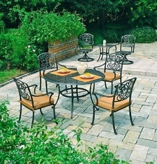 Bella By Hanamint Luxury Cast Aluminum Patio Furniture 4-Person Dining Set W/Chat Group