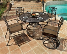 Bella Vista By Gensun Luxury Cast Aluminum Patio Furniture 4-Person Dining Set With Swivel Chairs