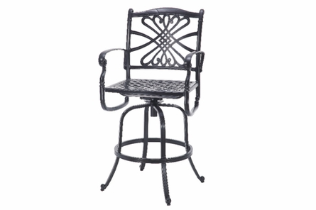 Bella Vista By Gensun Luxury Cast Aluminum Patio Furniture Swivel Bar Height Chair