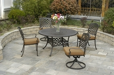 Berkshire By Hanamint 4-Person Luxury Cast Aluminum Patio Furniture Dining Set W/Swivel Chairs