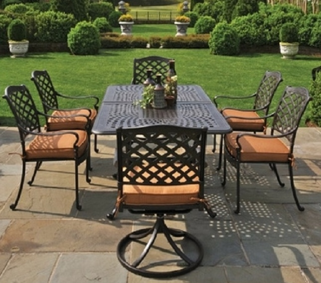 Berkshire By Hanamint 6 Person Luxury Cast Aluminum Patio Furniture Dining  Set W/Swivel Chairs