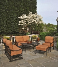 Berkshire By Hanamint Luxury Cast Aluminum 5-Person Deep Seating Set W/Loveseat Glider