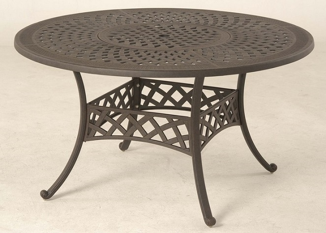 Berkshire by hanamint luxury cast aluminum 54 round for Luxury round dining table