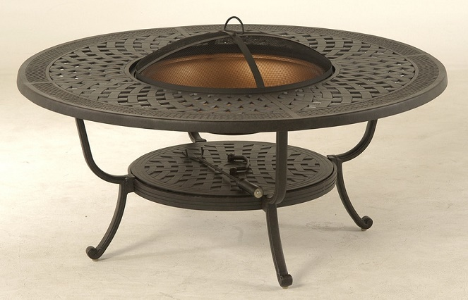 Berkshire By Hanamint Luxury Cast Aluminum Patio Furniture Round - Round fire pit table and chairs