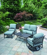 Berkshire By Hanamint Luxury Cast Aluminum Patio Furniture 5-Piece Deep Seating Set