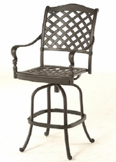 Berkshire By Hanamint Luxury Cast Aluminum Patio Furniture Swivel Bar Height Chair