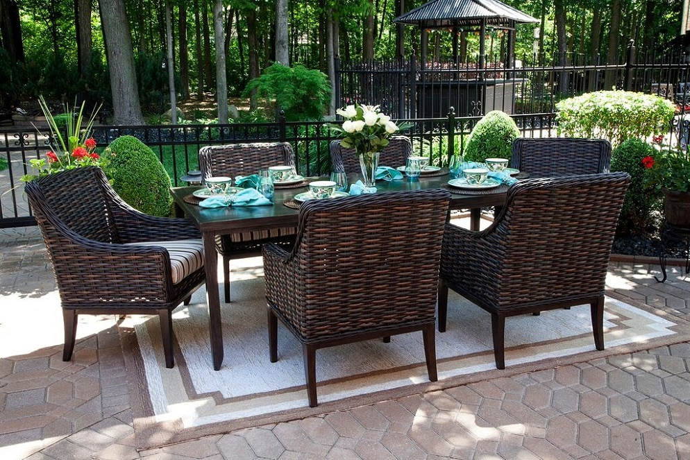 Cassini Collection All Weather Wicker 6 Person Patio Furniture Dining Set  W/Stationary Chairs