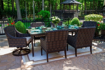 Cassini Collection All Weather Wicker 6-Person Patio Furniture Dining Set With Swivel Chairs