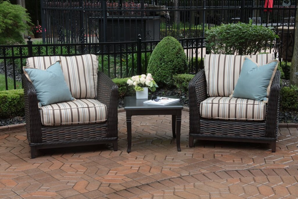 Lovely Cassini Collection All Weather Wicker Luxury Patio Furniture 2 Person Chat  Set
