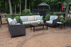 Cassini Collection All Weather Wicker Patio Furniture 5-Piece Deep Seating Set W/Loveseat