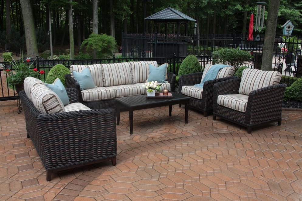 Cassini Collection All Weather Wicker Luxury Patio Furniture 6 Piece Deep  Seating Set
