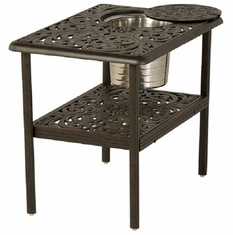 "Chateau By Hanamint Luxury Cast Aluminum 20"" x 28"" Rectangular Ice Bucket Side Table"