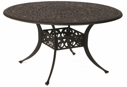 """Chateau By Hanamint Luxury Cast Aluminum 54"""" Round Dining Table W/Inlaid Lazy Susan"""