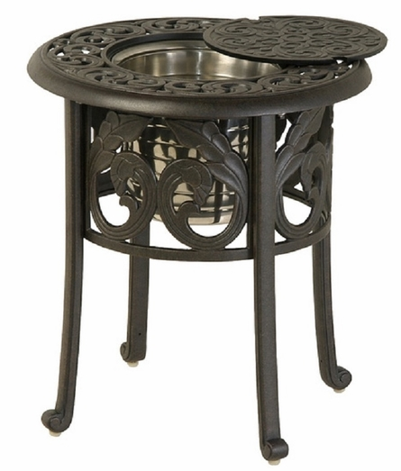 "Chateau By Hanamint Luxury Cast Aluminum Patio Furniture 20"" Round Ice Bucket Side Table"
