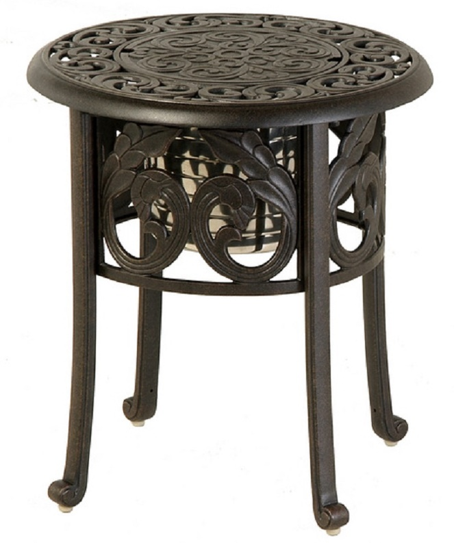 Chateau by hanamint luxury cast aluminum patio furniture for Outdoor furniture end tables