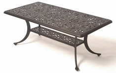 "Chateau By Hanamint Luxury Cast Aluminum Patio Furniture 24"" x 45"" Rectangular Coffee Table"