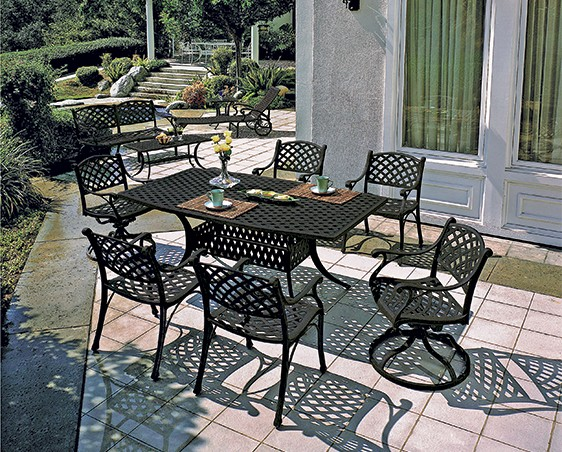 Columbia By Gensun Luxury Cast Aluminum Patio Furniture 6 Person Dining Set With Swivel Chairs