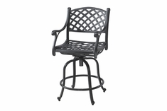 Columbia By Gensun Luxury Cast Aluminum Patio Furniture Swivel Bar Chair