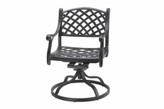 Columbia By Gensun Luxury Cast Aluminum Patio Furniture Swivel Dining Chair