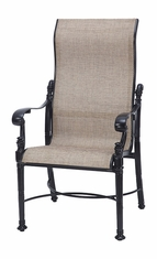 Florence By Gensun Luxury Cast Aluminum Patio Furniture Sling High Back Dining Chair