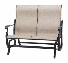 Florence By Gensun Luxury Cast Aluminum Patio Furniture Sling High Back Loveseat Glider