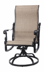 Florence By Gensun Luxury Cast Aluminum Patio Furniture Sling High Back Swivel Rocker