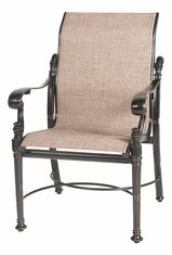 Florence By Gensun Luxury Cast Aluminum Patio Furniture Sling Standard Back Dining Chair