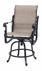 Florence By Gensun Luxury Cast Aluminum Patio Furniture Sling Swivel Balcony Stool