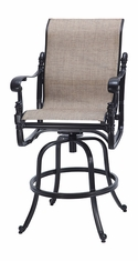 Florence By Gensun Luxury Cast Aluminum Patio Furniture Sling Swivel Bar Stool