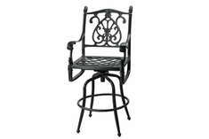 Florence By Gensun Luxury Cast Aluminum Patio Furniture Swivel Bar Height Chair