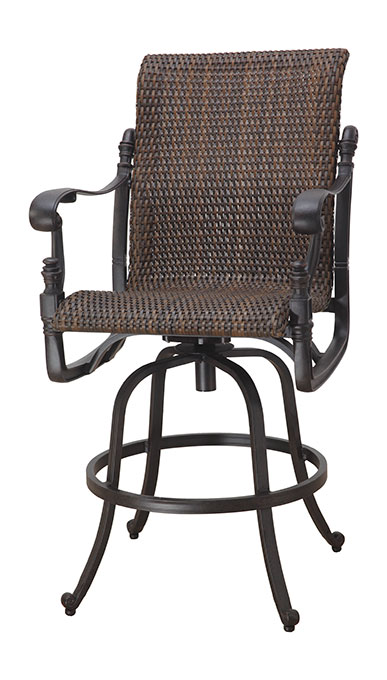 Florence by gensun luxury wicker patio furniture swivel for Luxury swivel bar stools