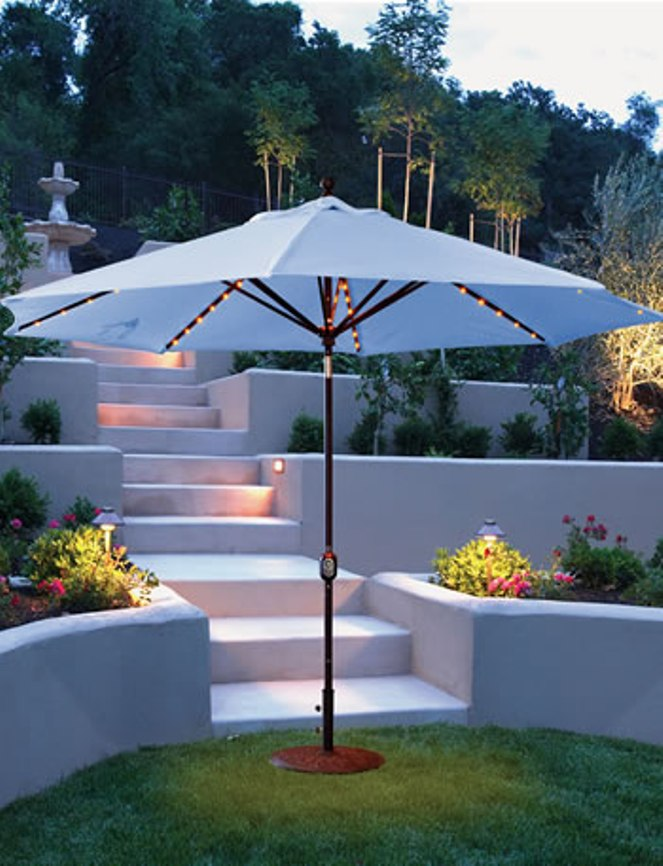 Galtech Market Aluminum 11u0027 Auto Tilt Patio Umbrella With LED Umbrella  Lights And Sunbrella Canopy