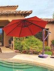 Galtech Aluminum 11' Cantilever Offset Patio Umbrella With Suncrylic Fabric Canopy